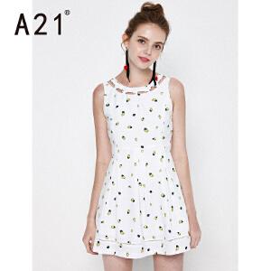 A21夏装新品甜美可爱女装背心抗皱连衣裙女士裙子画笔印小清新