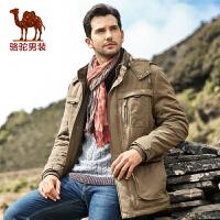 Camel骆驼男装 冬季男士直筒立领棉衣 男士中长款休闲棉服 潮