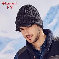 kenmont男士帽子冬季韩版短檐鸭舌帽混纺针织帽毛线帽护耳冬帽1778