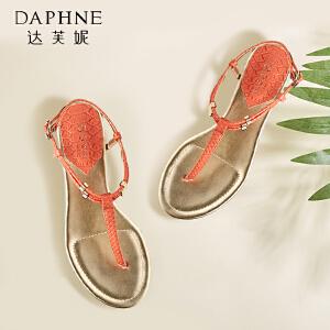 Daphne/达芙妮女鞋 低跟夹趾一字扣绑带凉鞋1015303074