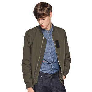 viishow秋装新款男士夹克纯色棒球领夹克外套青年jacket男潮