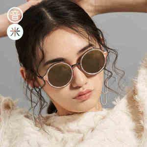 音米新款板材墨镜圆形复古 偏光太阳镜女士眼镜时尚 太阳镜 个性