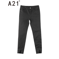 以纯线上品牌A21 2017夏装新款九分裤女弹力纯色脚口开叉中腰小脚裤