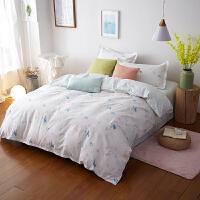 当当优品家纺 纯棉斜纹印花床品 双人床单四件套 妙语花枝