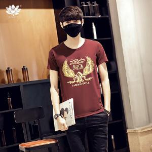 EASZin逸纯印品 短袖t恤男 新款韩版宽松圆领金翅膀印花男士大码加肥半袖T恤衫