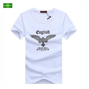 逸纯印品(EASZin)短袖男t恤 韩版短袖T恤时尚翅膀印花男士大码加肥T恤衫
