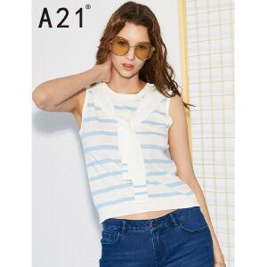 以纯线上品牌a21 2017夏装新款背心女甜美清新圆领条纹无袖上衣