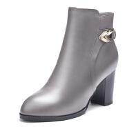 富贵鸟时尚头层牛皮尖头女鞋保暖绒里粗跟女短靴女士高跟靴