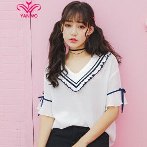 演沃 甜甜小淑女 荷叶罗纹领边 宽松短袖T恤女2017夏装新款