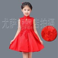 童装儿童礼服红色旗袍长袖公主裙花童礼服裙女童生日六一演出春夏