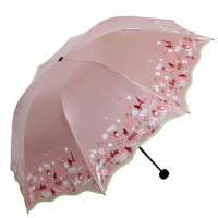 天堂伞33190E  折叠蘑菇公主黑胶晴雨伞遮阳伞