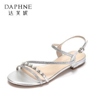 Daphne/达芙妮2017夏精致珍珠钻饰低跟女鞋 优雅绕带浅口粗跟凉鞋