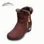 欣清冬季新款老北京布鞋女棉靴加厚坡跟保暖雪地靴时尚短毛绒