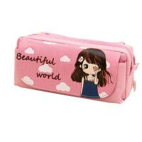 韩版创意简约花花姑娘笔袋大容量女初中小学生铅笔盒多层文具盒