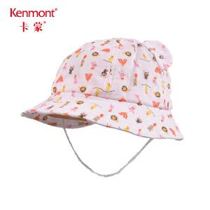 卡蒙0-1岁春季儿童帽夏天幼童帽子男女宝宝纯棉盆帽婴儿卡通帽子4761