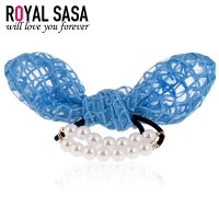 皇家莎莎Royalsasa蕾丝网纱兔耳朵造型珍珠蝴蝶结发圈头绳头花皮筋发饰女06SP022