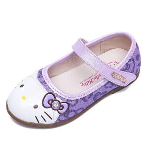Hellokitty童鞋春秋新款女童单鞋公主鞋蝴蝶结方口鞋儿童皮鞋