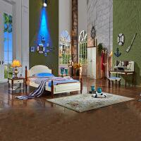 尚满 地中海儿童家具卧室五件套房 床+床头柜*2+书桌+衣柜(不含床垫和椅子)