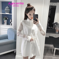 【两件5折】AGECENTRE时代中心 2017春女春季新款时尚女装白色蕾丝拼接订珠连衣裙潮