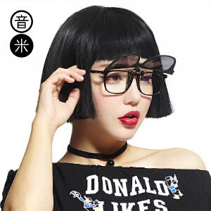 音米偏光镜夹片男潮墨镜夹片开车眼镜女偏光圆脸夹片式太阳镜