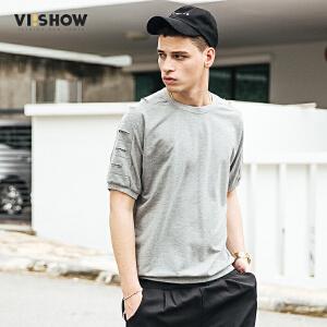 viishow2017男士短袖T恤欧美潮牌街头体恤衫修身休闲半截袖圆领t