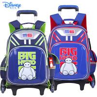 迪士尼大白儿童小学生卡通双肩书包三轮可爬楼拉杆书包配送防雨罩