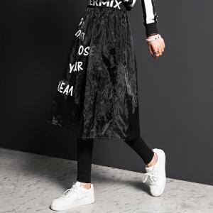 【9.21超级品牌日】七格格秋装新款 中长款黑白撞色字母印花潮流半身裙