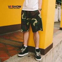 VIISHOW2017夏装新品休闲短裤男纯棉迷彩印花男士五分裤子绑抽绳