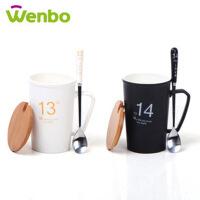 文博情侣1314陶瓷杯创意定制陶瓷马克杯一生一世情侣杯(黑色)