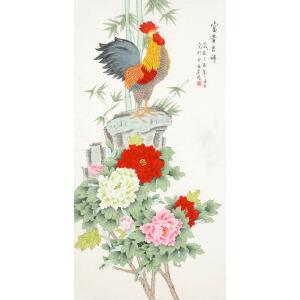 北京美协会员 凌雪《富贵吉祥》136cmx68cm LX106
