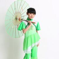 女童汉族秧歌舞表演服幼儿古典舞民族儿童圣诞节浅绿色演出服浅绿色舞蹈服装