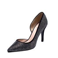 达芙妮/圆漾女鞋 超高跟尖头优雅水钻布浅口单鞋