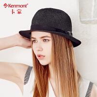 kenmont帽子英伦复古爵士帽女夏天遮阳草编礼帽绅士帽时尚草帽男3348