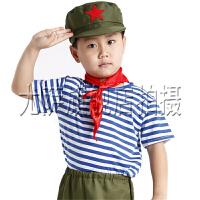 小雷锋服装男女款小兵哥表演服装小红军演出服儿童舞蹈幼儿军装表演服舒适海魂衫