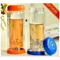富光玻璃杯 彩艺双层透明 260-280 320小巧带盖隔热杯 水杯子