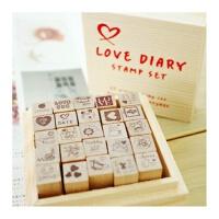 陆捌壹肆 韩国LOVE木制儿童彩色印台印章无印泥DIY日记+木盒25枚 爱 1盒装