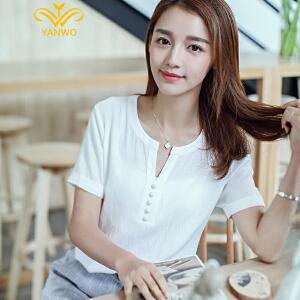 【聚划算 厂价抢购限今天】演沃 2017夏季新品韩版大码女装短袖T恤上衣