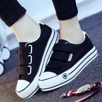 匡王夏魔术贴帆布鞋女松糕跟黑色布鞋韩版女鞋休闲鞋平跟鞋子学生板鞋