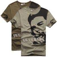 自由骑士 户外男装格瓦拉纯棉印花圆领T恤 休闲军迷短袖T恤3039