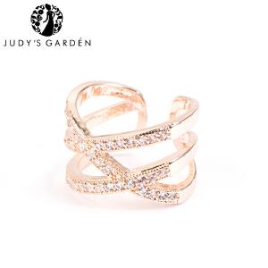 【茱蒂的花园】新款欧美范百搭时尚交叉线条水晶钻锆石戒指指环玫瑰金K金色女款女生女士