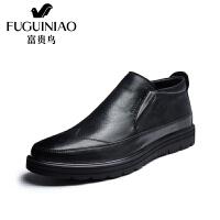 富贵鸟皮鞋新品冬款英伦高帮棉鞋男士商务休闲靴套脚男鞋男靴