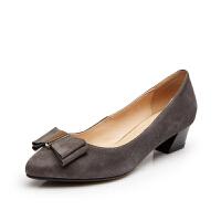 富贵鸟 秋季新款女鞋 浅口女中跟 粗跟尖头鞋蝴蝶结单鞋