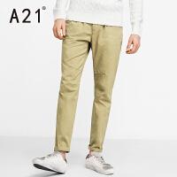 以纯A21男装中腰小直筒长裤休闲裤 2017春装新品时尚潮流百搭舒适裤子