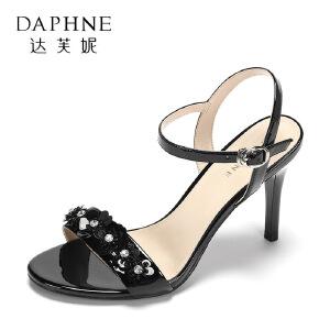 Daphne/达芙妮2017夏正品优雅酒杯跟高跟鞋 时尚亮片水钻扣带凉鞋