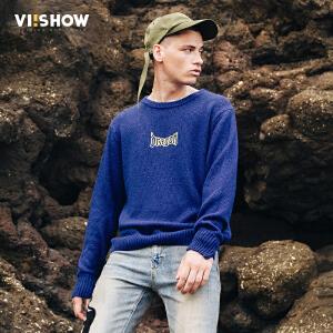 VIISHOW2017秋装新品圆领套头针织衫男字母装饰男士毛衣毛衫外套