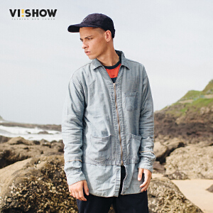 VIISHOW2017秋装新品牛仔长袖衬衫男拉链开襟口袋装饰男士衬衣