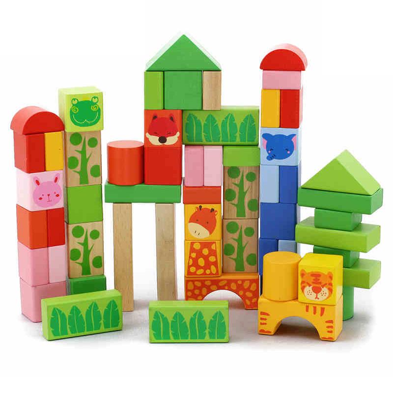 木玩世家塑料/硬质积木 木玩世家 依可比好 52粒森林动物积木 桶装