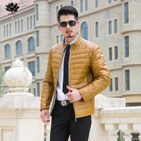 逸纯印品(EASZin)羽绒服 男士2016冬季仿真水洗皮羽绒服韩版修身中青年防寒服外套