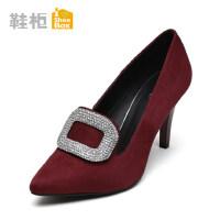 shoebox鞋柜时尚秋新款英伦优雅单鞋 纯色尖头方扣水钻女士高跟鞋
