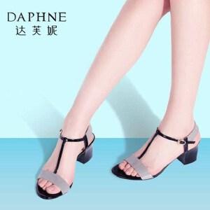 Daphne/达芙妮2016夏季新品 时尚撞色粗高跟露趾女凉鞋1016303142